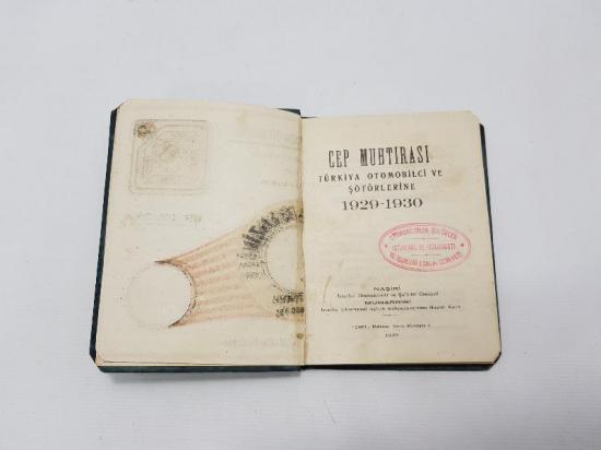 1929-1930 OTOMOBİLCİ VE ŞOFÖRLERE MAHSUS CEP MUHTIRASI